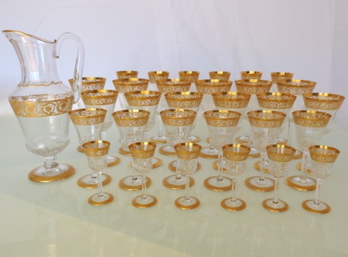 Set 30 glasses and 1 decanter in Crystal St - Louis Thistle gold
