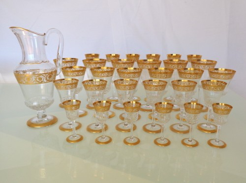 Set 30 glasses and 1 decanter in Crystal St - Louis Thistle gold - Glass & Crystal Style Art nouveau