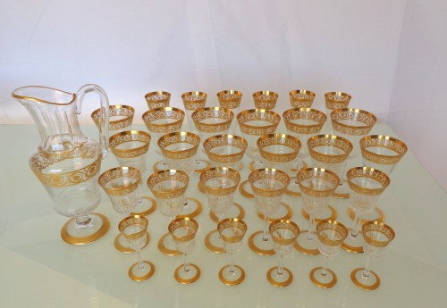 Glass & Crystal  - Set 30 glasses and 1 decanter in Crystal St - Louis Thistle gold