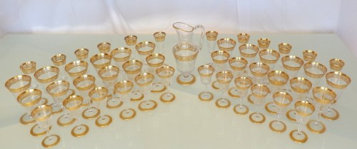 48 glasses,1 decanter in crystal St - Louis Thistle gold