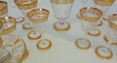 48 glasses,1 decanter in crystal St - Louis Thistle gold - Glass & Crystal Style Art nouveau