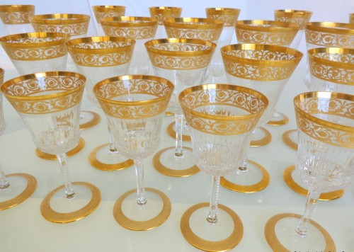 Glass & Crystal  - 48 glasses,1 decanter in crystal St - Louis Thistle gold