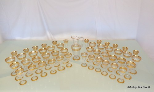 48 glasses,1 decanter in crystal St - Louis Thistle gold -