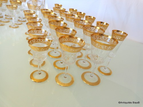 48 glasses,1 decanter in crystal St - Louis Thistle gold - Art nouveau