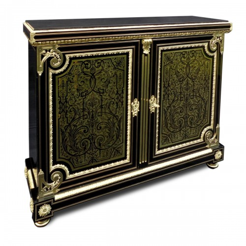 Furniture L XIV with 2 doors in Boulle marquetry 19th  Napoleon III  period