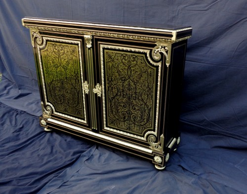 Furniture L XIV with 2 doors in Boulle marquetry 19th  Napoleon III  period - Furniture Style Napoléon III