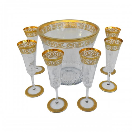 Bucket Champagne + 6 glasses in crystal St - Louis Thistle gold