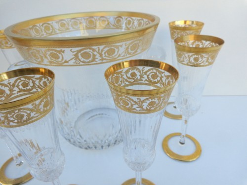 20th century - Bucket Champagne + 6 glasses in crystal St - Louis Thistle gold
