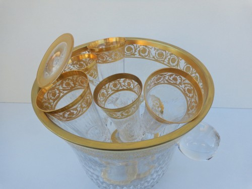 Antiquités - Bucket Champagne + 6 glasses in crystal St - Louis Thistle gold