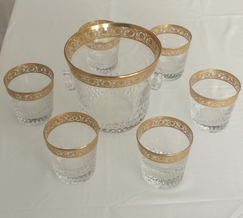 Glass & Crystal  - Whisky set in crystal St-Louis - Thistle gold