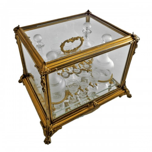 A late 19th century Glass Tantalus Box in Bronze