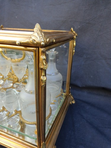 A late 19th century Glass Tantalus Box in Bronze - Decorative Objects Style Napoléon III