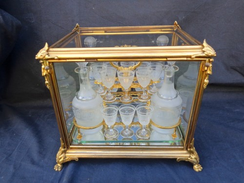 A late 19th century Glass Tantalus Box in Bronze - Napoléon III