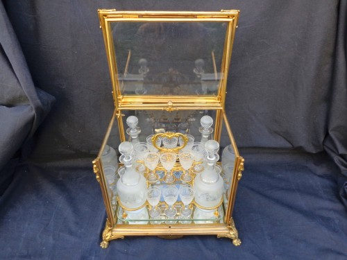 Antiquités - A late 19th century Glass Tantalus Box in Bronze