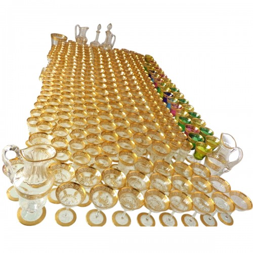 Amazing set of crystal Saint Louis Model Thistle gold