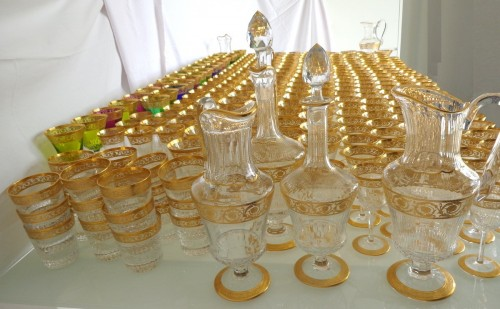 Glass & Crystal  - Amazing set of crystal Saint Louis Model Thistle gold