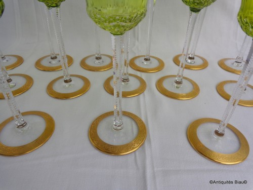 14 Roemers Chartreuse Saint St Louis Thistle Or Cristal - Glass & Crystal Style Art nouveau
