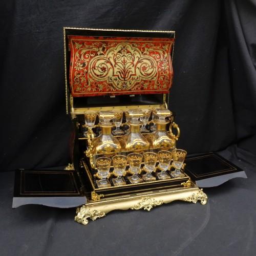Tantalus Box in Boulle marquetry Napoleon III period 19th - Napoléon III