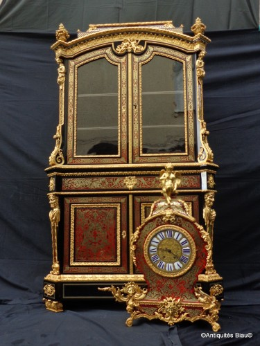 Cabinet secretary with Clock in Boulle style marquetry, late 19th century - Napoléon III