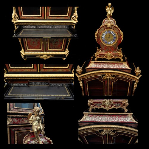 Antiquités - Cabinet secretary with Clock in Boulle style marquetry, late 19th century