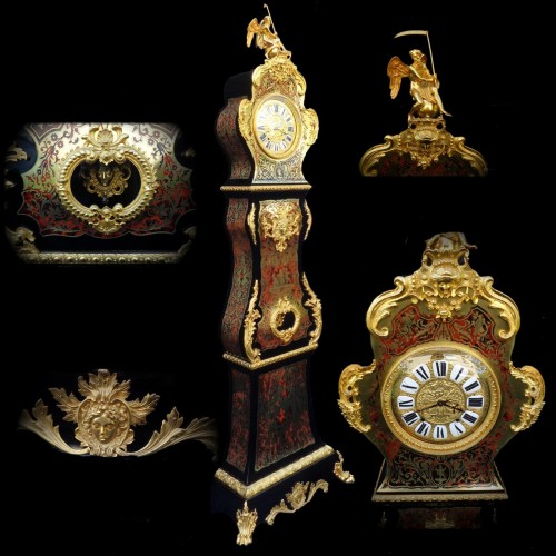 Impressive clock longcase in Boulle style marquetry 19th - Clocks Style Napoléon III