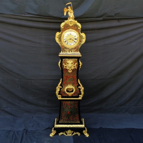 Clocks  - Impressive clock longcase in Boulle style marquetry 19th