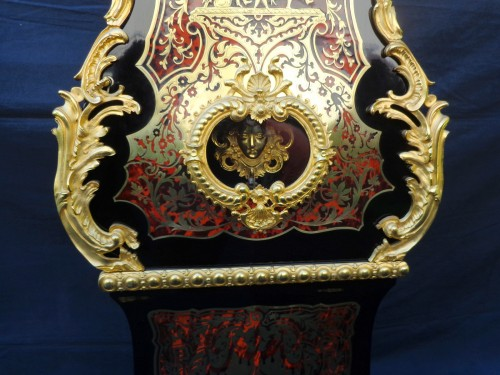 Antiquités - Impressive clock longcase in Boulle style marquetry 19th