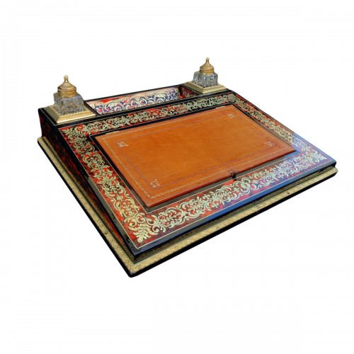 Important French inkwell in Boulle marquetry with crystal inkwell 19th Napo