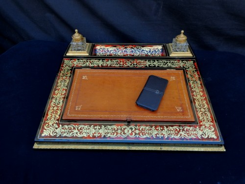Important French inkwell in Boulle marquetry with crystal inkwell 19th Napo - Decorative Objects Style Napoléon III