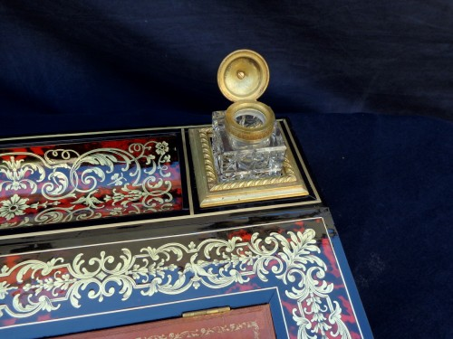 Decorative Objects  - Important French inkwell in Boulle marquetry with crystal inkwell 19th Napo