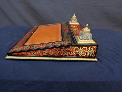 Important French inkwell in Boulle marquetry with crystal inkwell 19th Napo -