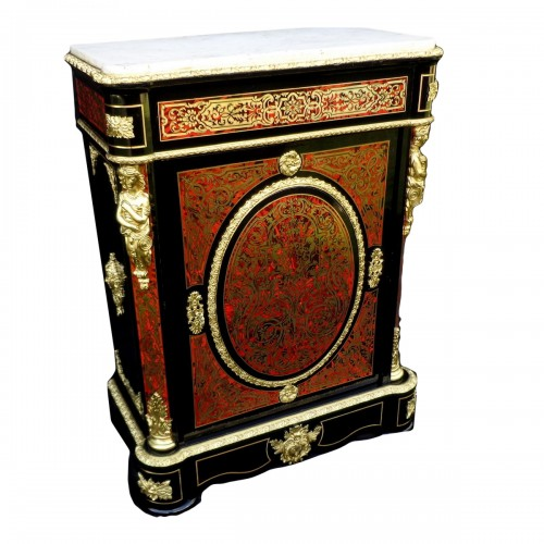 Cabinet in Boulle marquetry 19th opening on 1 door Napoleon III period