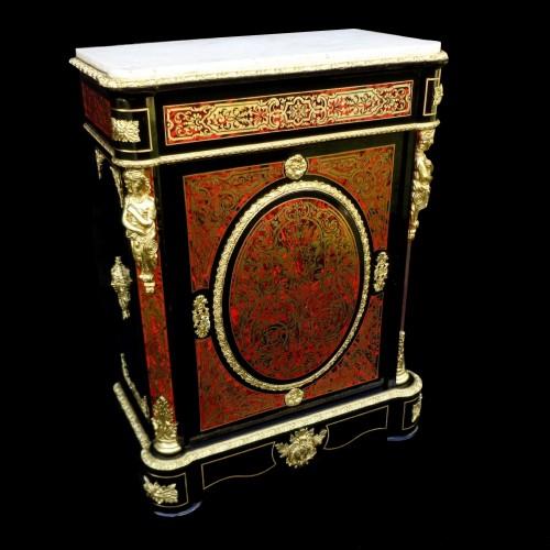 Antiquités - Cabinet in Boulle marquetry 19th opening on 1 door Napoleon III period
