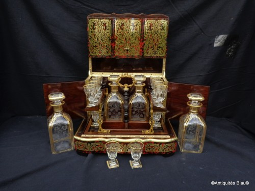 19th century - Tantalus Box in Boulle marquetry Napoleon III period 19th