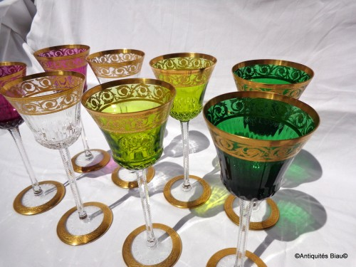 20th century - 8 Glass Roemer in crystal St-Louis - Thistle gold