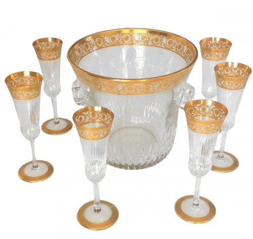 Bucket Champagne and 6 glasses in crystal St - Louis Thistle gold