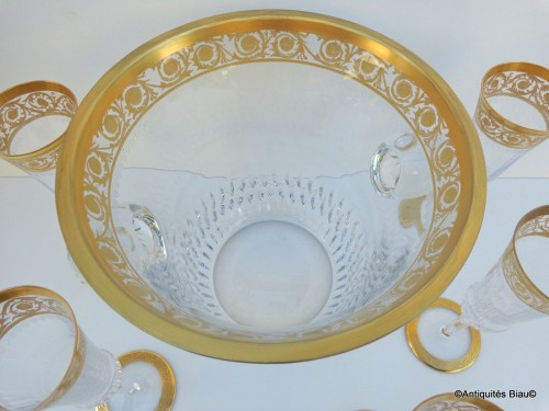 Bucket Champagne and 6 glasses in crystal St - Louis Thistle gold - Glass & Crystal Style Art nouveau
