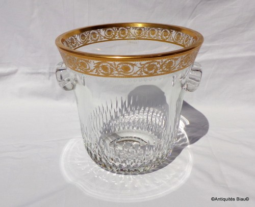 Bucket Champagne and 6 glasses in crystal St - Louis Thistle gold -