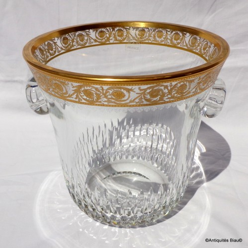 Antiquités - Bucket Champagne and 6 glasses in crystal St - Louis Thistle gold