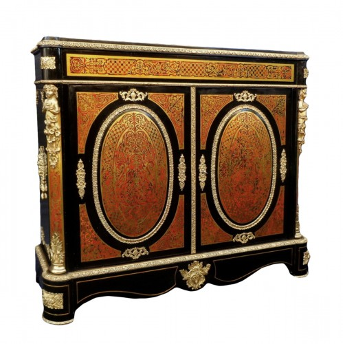 Cabinet in Boulle marquetry 19th opening on 2 doors Napoleon III period