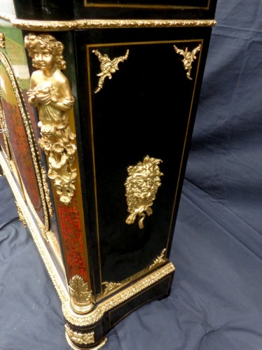 Cabinet in Boulle marquetry 19th opening on 2 doors Napoleon III period -