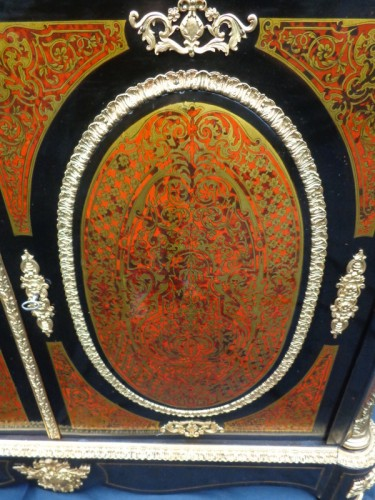 19th century - Cabinet in Boulle marquetry 19th opening on 2 doors Napoleon III period