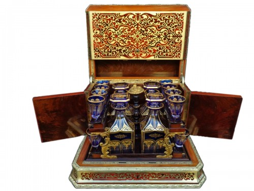 Baccarat crystal Tantalus Box in Boulle marquetry Napoleon III period 19th