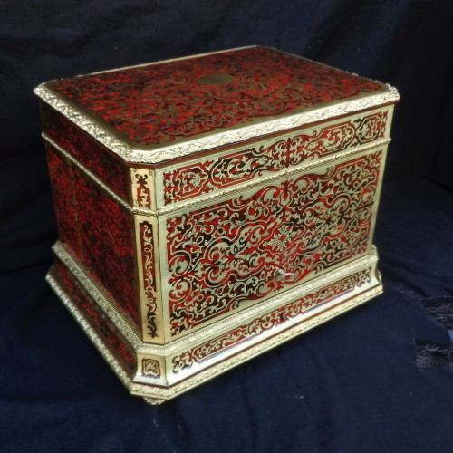 Decorative Objects  - Baccarat crystal Tantalus Box in Boulle marquetry Napoleon III period 19th