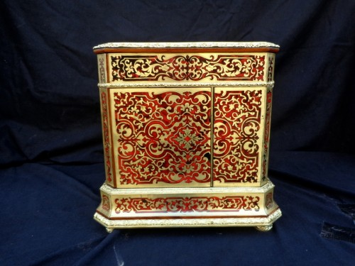19th century - Baccarat crystal Tantalus Box in Boulle marquetry Napoleon III period 19th