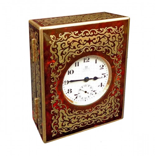 late 19th century  Omega clock in Boulle Box ASPREY marquetry