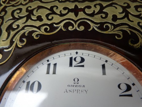 - late 19th century  Omega clock in Boulle Box ASPREY marquetry