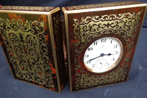 Antiquités - late 19th century  Omega clock in Boulle Box ASPREY marquetry