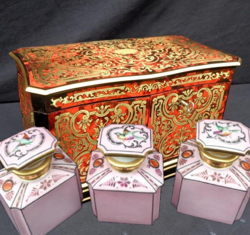 Antiquités - Apothecary Box stamped JENSEN in Boulle style marquetry late 19th century