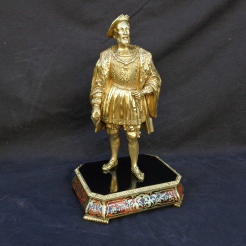 Bronze François 1er with Pedestal in Boulle marquetry 19th Napoleon III per